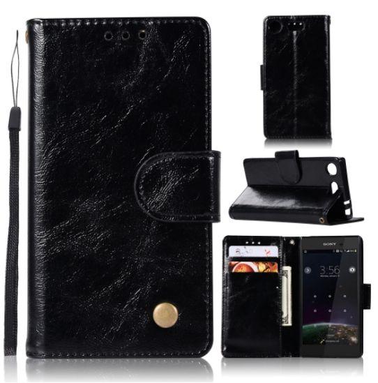 Pouzdro kožené pro SONY Xperia XZ1 Compact tzv. knížka - LITCHI BLACK
