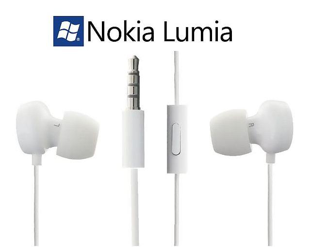 Stereo sluchátka pro Nokia 925 Lumia - bílá ORIGINÁL