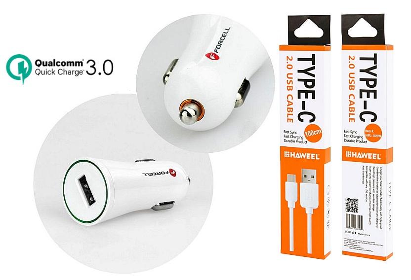 Autonabíječka pro Huawei P20 Lite s rychlým dobíjením + kabel typ C
