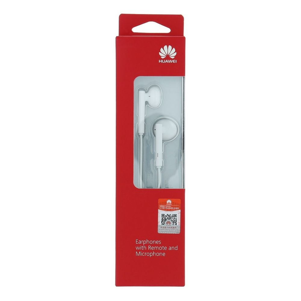 Stereo sluchátka pro Huawei P20 Lite bílá SUPER BASS s mikrofonem ORIGINÁL