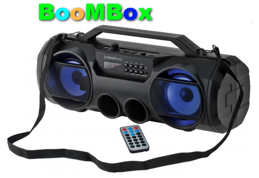 PartyBox 30W přenosný reproduktor AUX, USB port, microSD slot, FM radio, LED displej