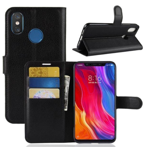 Kožené pouzdro pro Xiaomi Mi 8 černé LITCHI