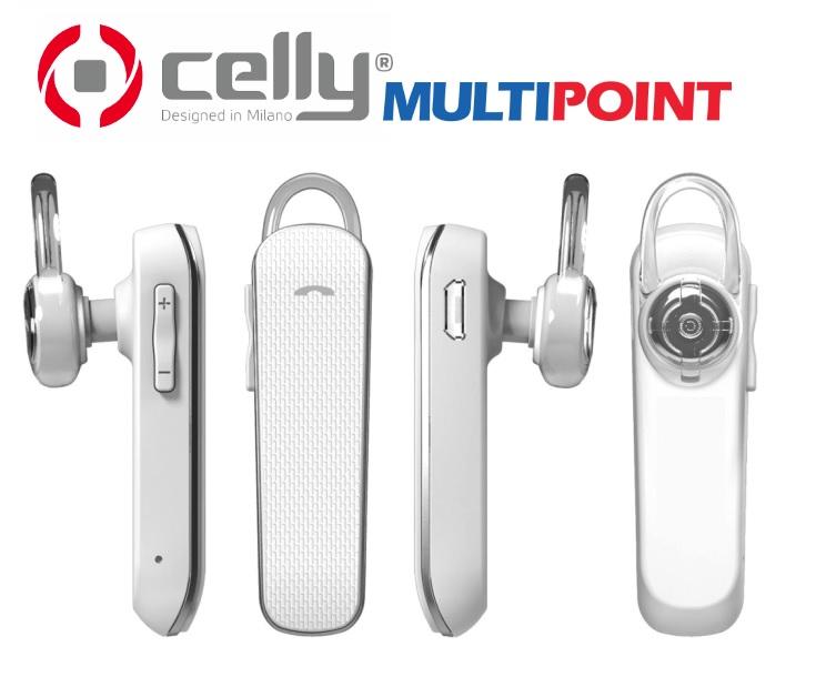 Bluetooth HF handsfree sluchátko pro Huawei Y6 2018 bílé CELLY