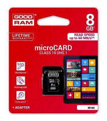 Paměťová karta microSDHC 8GB class 10 UHS-I + SD adapter