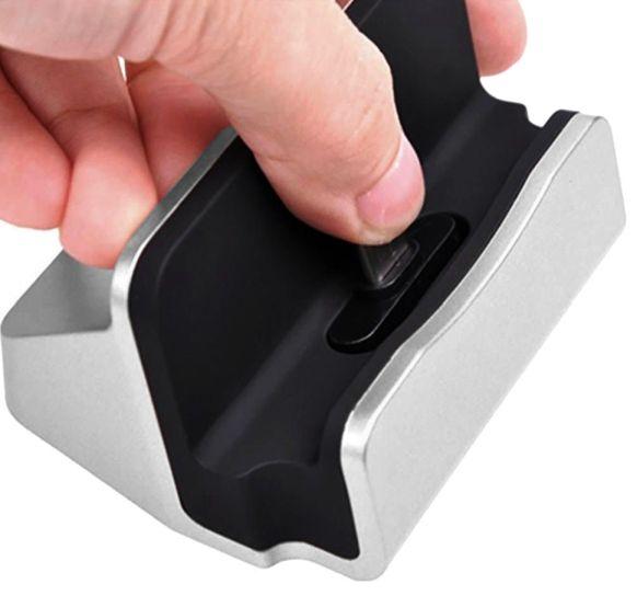 DOCK, stolní nabíječka pro Samsung Galaxy A42 5G - stříbrný