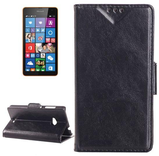 Pouzdro kožené pro Microsoft, na 535 Lumia - naklapávací černé